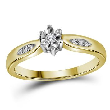 Yellow-tone Sterling Silver Womens Round Diamond Solitaire Bridal Wedding Engagement Ring 1/20 Cttw - Size 9