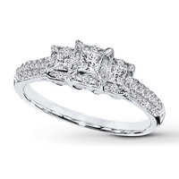 Diamond Engagement Ring 1/2 ct tw Princess-cut 10K White Gold