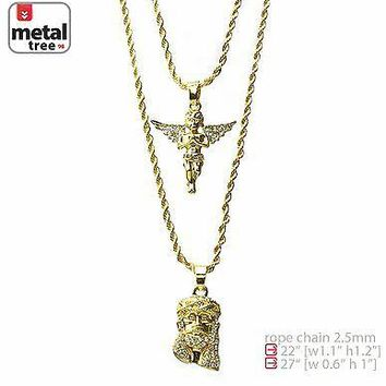 "Jewelry Kay style Men's 14k Gold Plated Angel & Jesus 22""&27"" Combo Pendant Necklace MHC 207 G"
