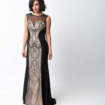 1930s Style Black & Nude Deco Beaded Jersey Gown