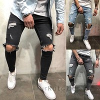 2018 New Hole Jean Men Skinny Pencil Pant Ripped Slim fit Stretch Denim Distress Frayed Biker Casual Jeans Boys Plus Size S-3XL