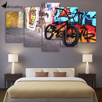 Canvas Paintings Printed 5 Pieces Abstract bike Wall Art Canvas Pictures For Living Room Bedroom Modular Home Decor CU-1390A