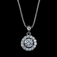 Swiss Diamond Round Pendant Necklace