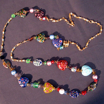 Vintage Boho Hippie Love Beads Long Necklace Millifiori Glass Beads 44""