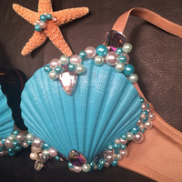 Lady Gaga inspired, Halloween mermaid, rave, tomorroworld, EDC, EDM, festival, concert, bling shell bra,