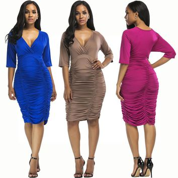 New pleated skirt to increase the code deep V waist hip bag solid color nightclub dress