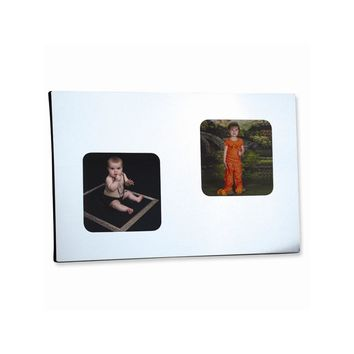 Double Square Aluminum Holds Two Photo Frame - Engravable Personalized Gift Item