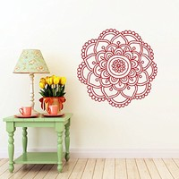 Mandala Wall Decal Namaste Flower Mandala Indian Lotus Yoga Wall Vinyl Decals Sticker Home Interior Wall Decor for Any Room Housewares Mural Design Graphic Bedroom Wall Decal Bathroom (5875)