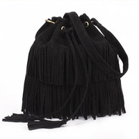 Black Retro Drawstring Tassel Bucket Bag