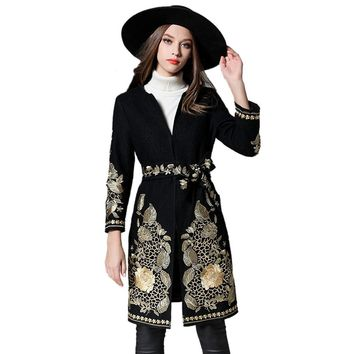 2018 Winter Wool Blends Coat For Women's Cashmere Coats Vintage Floral Embroidery Long Outwear With Sashes Casaco Feminino