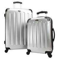 """Swiss Case 28"""" Spinner SILVER Suitcase + FREE Carry-on luggage set"""