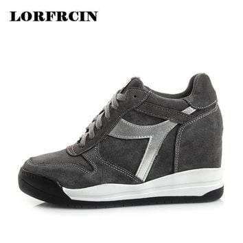 2017 Fashion Hidden Heel Women Pumps Trainers Breathable Shoes Woman Genuine Leather C
