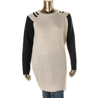 Extra Touch Womens Plus Ribbed Knit Colorblock Pullover Sweater