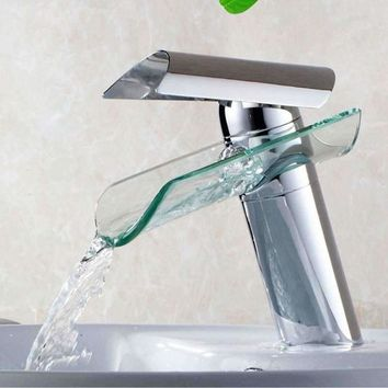 New Waterfall Glass Bathroom Basin Faucets Single Hole Handle Polished Chrome Mixer Tap Bathroom Kitchen Basin Sink Tap
