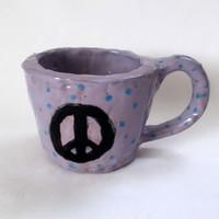 Peace Sign Mug Purple Glazed Pottery Coffee Cup Artist Signed Stoneware