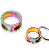 Pair (2) Rainbow Titanium Plated Screw Fit Ear Plugs Tunnels Gauges- 2G 6MM