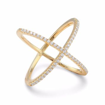 Amanda Rose 18 Karat Gold Plated Criss Cross Cubic Zirconia 'X' Ring in Sterling Silver (Available sizes 5-9)