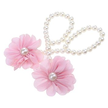 Newborn Baby Girls Flower Pearl Flower Foot Band Toe Rings First Walker Barefoot Anklet Chain for Kids