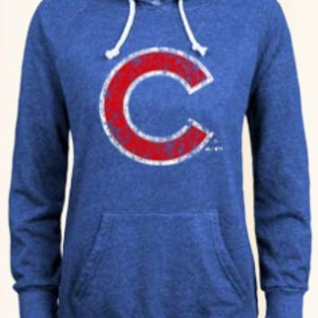 Chicago Cubs Distressed Logo Pullover Hoodie By Majestic Threads