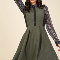 Business Over Bianco Shirt Dress in Olive | Mod Retro Vintage Dresses | ModCloth.com