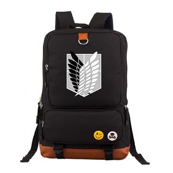 Anime Backpack School kawaii cute Attack on Titan Scouting Legion Denim Oxfords Women Printing Backpack Fashion School Bags for Teenagers Mochila boys AT_60_4
