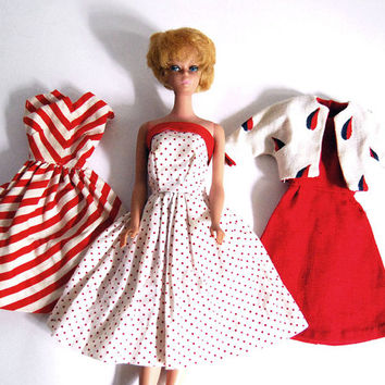 Vintage Barbie Doll Clothes 1960s Toys Handmade Clothing Red White Dress, Jacket, Stripes, Polka Dots Spring Fashion Valentines Day
