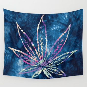 Pot Leaf Wall Tapestry Tie Dye Blue Yoga Meditation Mandala Wall Hanging