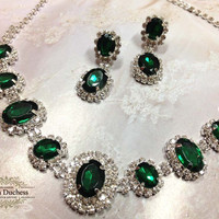 Wedding jewelry, bridesmaid jewelry set, Bridal necklace earrings, vintage inspired rhinestone bridal statement, Emerald green crystal jewelry set