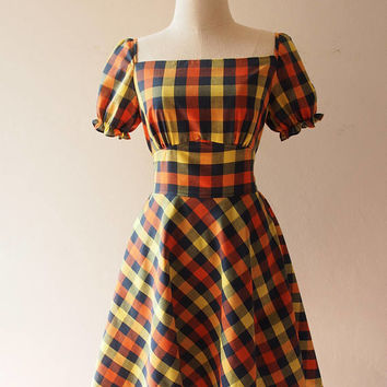 Happily Ever After - Puff Sleeve Dress Swing Dance Dress Gingham Dress in Multicolor Summer Dress Vintage Sundress La La Land Dress