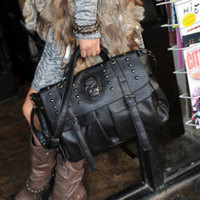 Punk Fashion Skull Decorated Ladies Handbags Black  : Wholesaleclothing4u.com