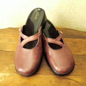 Mary Jane Clogs taupe mauve light brown hipster boho shoes slip on mules mori girl vintage 90s women 7 5 half medium width Clarks Brazil