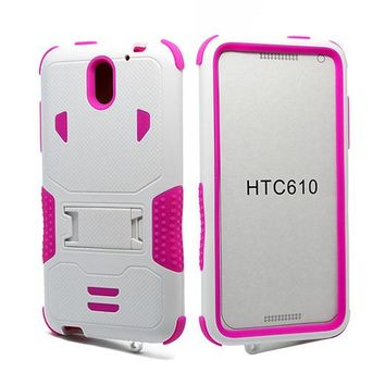 HTC Desire 610 Impact Silicone Case Dual Layer with Stand White Pink