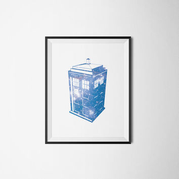 Dr. Who Tardis Galaxy Print - Geek Wall Art