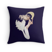 'The white mermaid meets the moon' Throw Pillow by mlswig