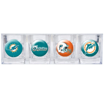 Miami Dolphins 4pc Collector's Shot Glass Set