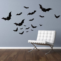 "Bats Vinyl Wall Decal Graphics 34""x10"" Home Decor Halloween"