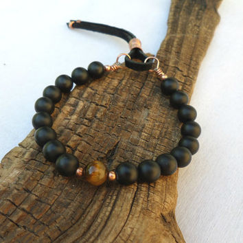 Boho Bracelet, Onyx and Tiger's Eye Bracelet, Stacking Bracelet, Yoga Bracelet, Men's Bracelet, Women's Bracelet, ColeTaylorDesigns