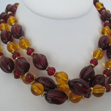 Red Yellow Necklace 3 Strand Bead Plastic