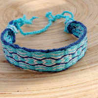 blue bracelet, card weaving colorful patterned tribal friendship bracelet, women men woven wrist band, boho jewelry, jewellery, bangle
