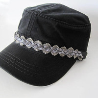 Black Cadet Army Hat with a Band of Gorgeous Grey Lace and Grey Braided Glitter Band Cadet Hats Accessories