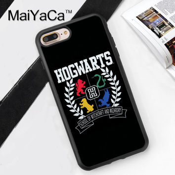 Harry Potter Hogwarts Houses Style Soft TPU Case for iPhone 7 7Plus for iPhone 6 6S Plus 5 5S 5C SE Soft Rubber Phone Back Cover