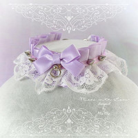 Kitten Pet Play Collar DDLG Choker Necklace Lilac Purple White Lace Ruffles Spikes Bow O ring kitty Jewelry pastel goth Lolita BDSM