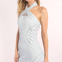 Show Some Skin Lace Cut Out Sleeve Bodycon Dress