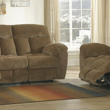 Ashley Furniture 97903-88-86 2 pc hector collection caramel colored fabric upholstered sofa and love seat set with recliners on the ends