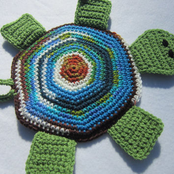 Turtle Hot Pad Crocheted in Green Blue White and Brown, Turtle Wall Decor, Turtle Pot Holder