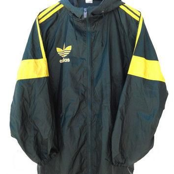 Vintage 90's ADIDAS Big Logo Yellow Windbreaker Sweater Hooded Hip Hop Jacket Swag