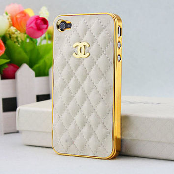 Chanel Apple iPhone 4 & 4S cellular mobile phone hard case with Lamb Skin, C logo durable case cover, gift box, white ON SALE