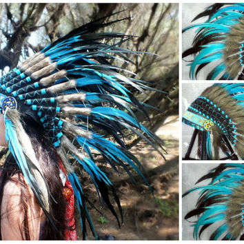 Blue Native American Headdress, Indian Warbonnet, Feather Headdress, Chief Indian Hat, Christmas gift