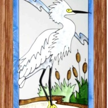 Egret Bird Vertical Stained Art Glass Panel