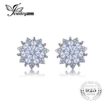 JewelryPalace Flower 1.3ct Created Light Blue Spinel Stud Earrings For Women 925 Sterling Silver Luxury Wedding Earrings Jewelry